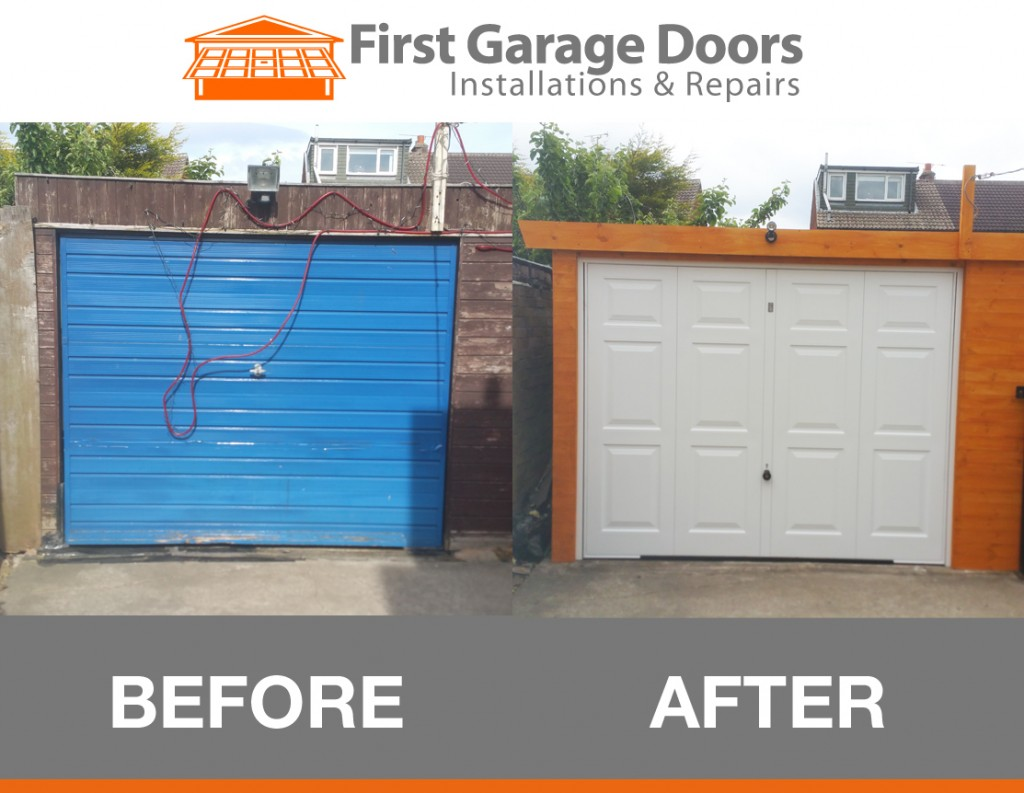 New replacement garage door and frame fitted first for Garage side door and frame