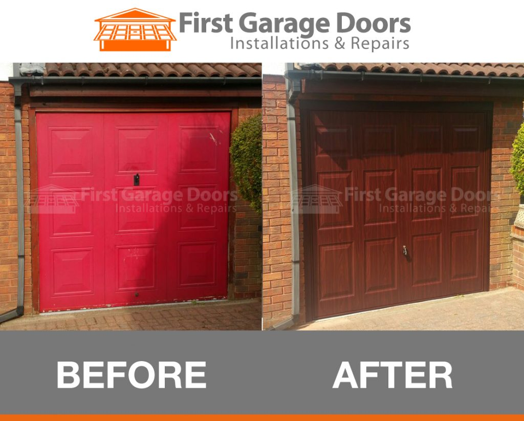 New hormann wrose wood garage door fitted first garage doors for Wooden front doors fitted