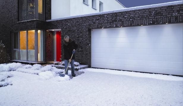 Snow freezing garage door