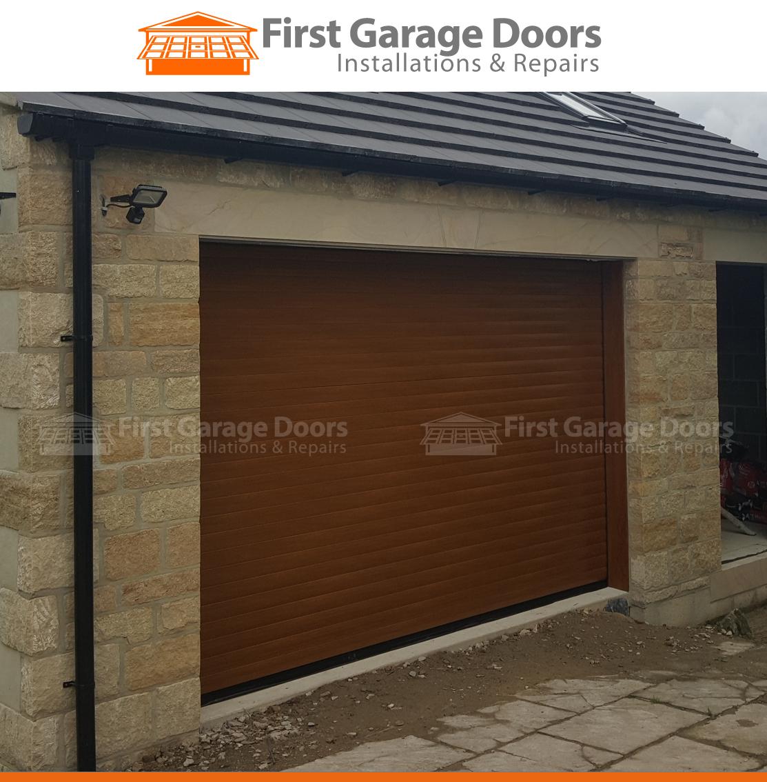 Golden Oak Roller Garage Door On A New Build Garage